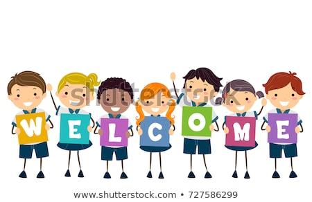 子供 ユニフォーム ボード 歓迎 実例 学生服 ストックフォト © lenm