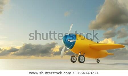 Jelenet repülőgép kék terv háttér művészet Stock fotó © colematt