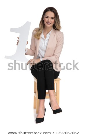 Fiatal szőke nő üzletasszony legelső felirat ül Stock fotó © feedough