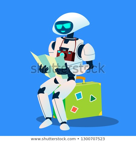 Tourist Robot With Camera And Map Vector. Isolated Illustration Stock photo © pikepicture