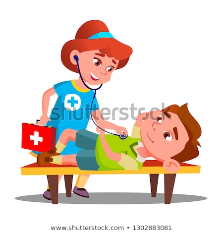 Child Play Doctor Lying Unconscious On Bench And Second Child Girl Provides First Aid Vector. Isolat Stock photo © pikepicture