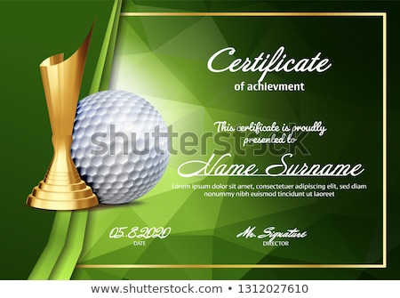Golf Certificate Diploma With Golden Cup Vector. Sport Vintage Appreciation. Modern Gift. Print Blan Stock photo © pikepicture
