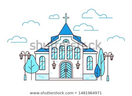 Linha arte conjunto casas cristão igrejas Foto stock © MarySan