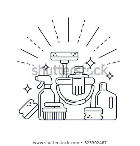 Cleaning service - line design style icons set Stock photo © Decorwithme