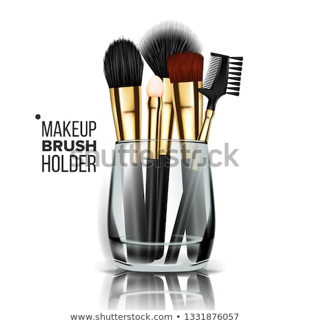 Makeup Brush Holder Vector. Glass Cup. Female Application. Equipment Collection. Beautiful Complexio Stock photo © pikepicture