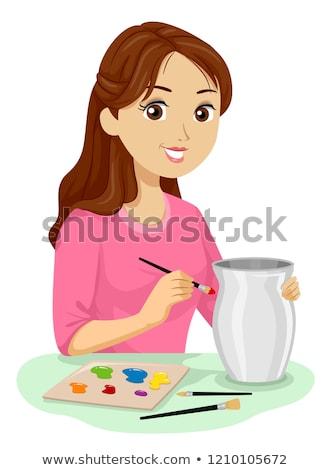 Tienermeisje keramische workshop illustratie tienermeisje Stockfoto © lenm