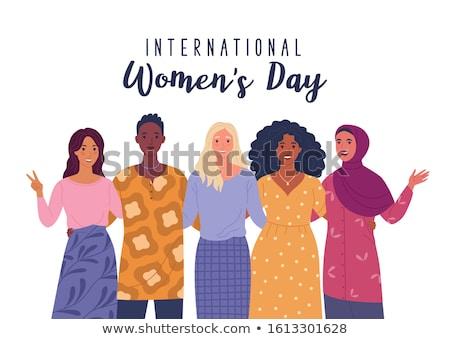 Feliz día de la mujer tarjeta diverso mujeres cabeza Foto stock © cienpies