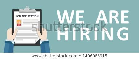 Hand Clipboard Job Application We Are Hiring Woman Header Stock photo © limbi007