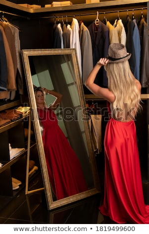 Shopping Woman Client in Changing Trying Hat Dress Stock photo © robuart