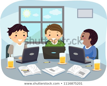 Stickman Teens Group Study Laptop Illustration Stock photo © lenm