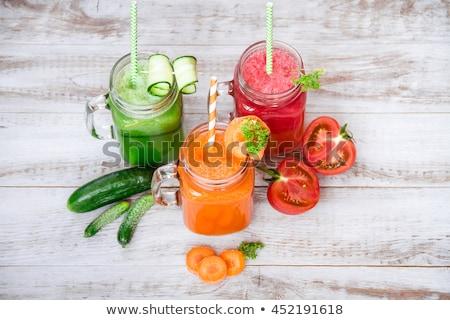 Smoothie tomaat komkommer wortel geïsoleerd Stockfoto © karandaev