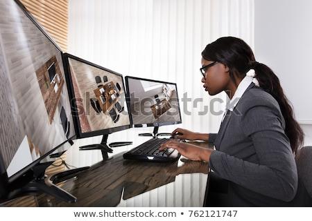 Empresária cctv câmera computador jovem Foto stock © AndreyPopov