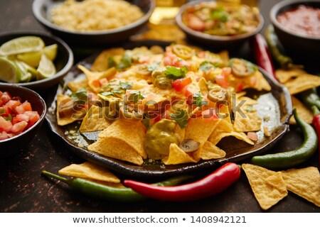maíz · nachos · tomate · salsa · caliente · comer - foto stock © dash