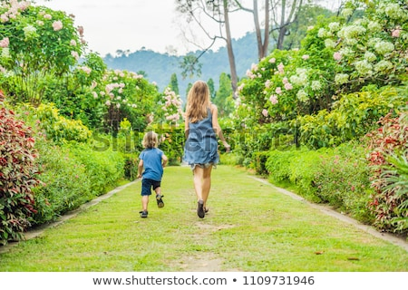 Mom and son are running around in the blooming garden. Happy family life style concept Stock photo © galitskaya
