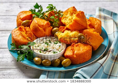 Freshly baked corn muffins on the plate Stock photo © Melnyk