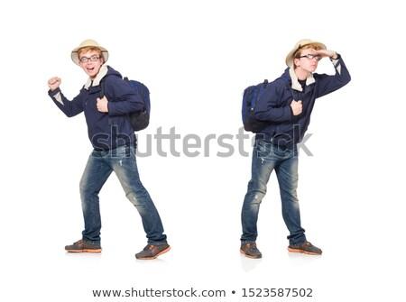 Grappig student safari hoed lopen Stockfoto © Elnur