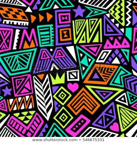 Hippie hand drawn doodles seamless pattern. Hippy background. Stock photo © balabolka