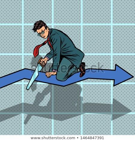 бизнесмен кривая графа банкротство Поп-арт ретро Сток-фото © studiostoks