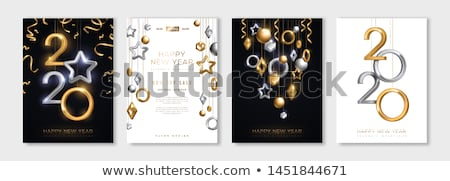 Nieuwjaar wenskaart banner vector glanzend Geel Stockfoto © pikepicture