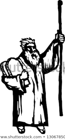 Moses With Ten Commandments Drawing Black and White Stock photo © patrimonio