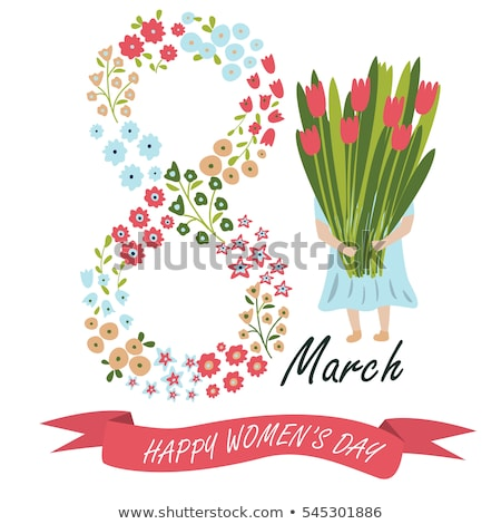 8 March. Happy Women's Day. Floral figure of eight. Spring holiday. Creative hand drawn colorful tex Stock photo © user_10144511