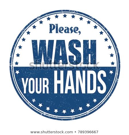 Kéz mosás pecsét vektor piros izolált Stock fotó © THP
