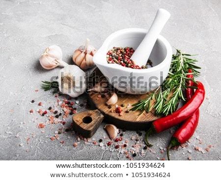 Habarcs és mozsár gyógynövényekkel és fűszerekkel Stock fotó © almaje