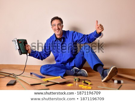Artesano sesión piso construcción cuerpo trabajador Foto stock © photography33