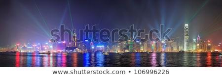 linha · do · horizonte · Hong · Kong · noite · negócio · escritório · edifício - foto stock © meinzahn