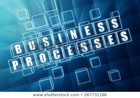 üzlet · fejlesztés · kék · üveg · kockák · szöveg - stock fotó © marinini