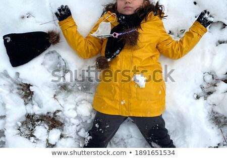 Stok fotoğraf: Kız · sarı · ceket · kar · doğa · kış