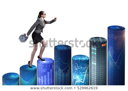 Woman climbing the stairs with a clock Stock photo © IS2