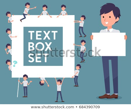 flat type White short sleeved men_text box Stock photo © toyotoyo