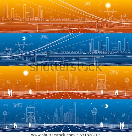 город сцена зданий дороги пейзаж саду Сток-фото © colematt