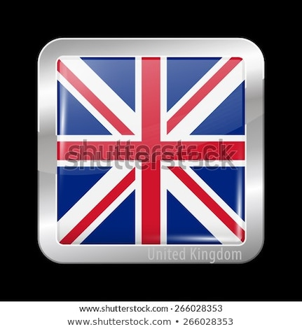 Stock photo: Icon square shape with Flag on white background