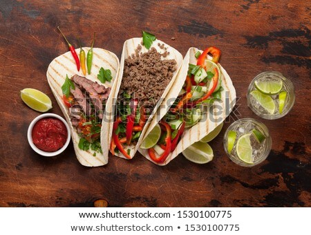 Mexican tacos and caipirinha cocktail Stock photo © karandaev