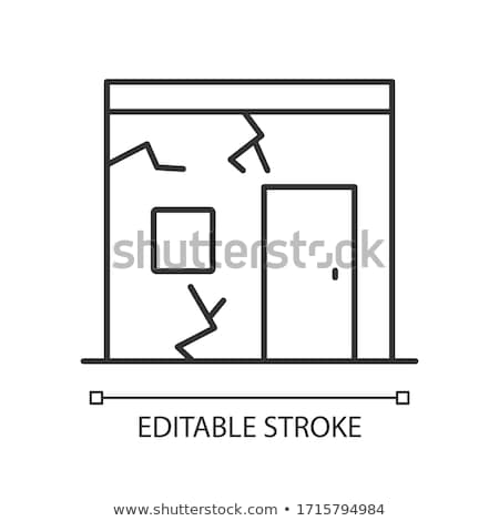 ruined house icon vector outline illustration Stock photo © pikepicture