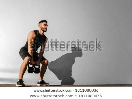 красивый спортсмена гири портрет город Сток-фото © wavebreak_media