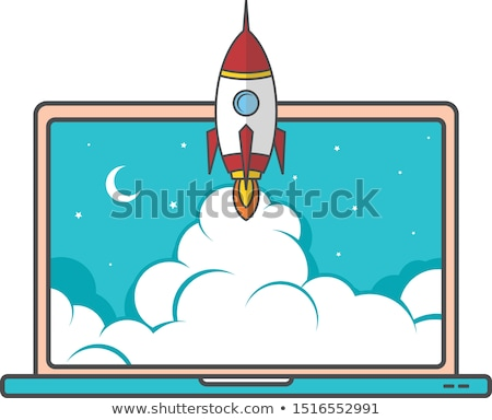 notebook laptop boost start up space rocket shuttle theme Stock photo © vector1st