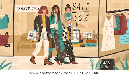 Lady with Purchase on Discounts at Boutique Vector Stock photo © robuart