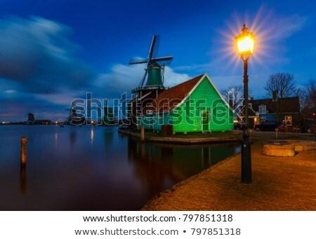 Windmills at Zaanse Schans in Holland. Zaandam, Nether Stock photo © dmitry_rukhlenko