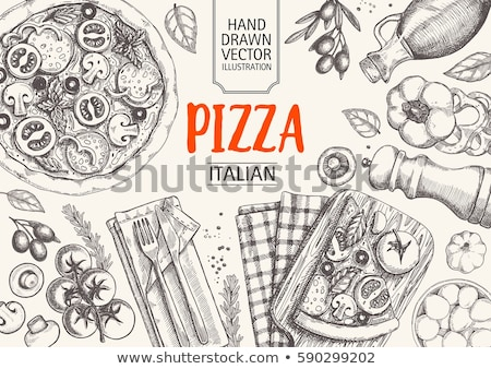 hand drawn vegetables collection on stripes background.      Stock photo © Margolana
