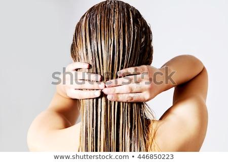 lány · fürdőköpeny · boldogság · kilátás · néz · kint - stock fotó © nejron