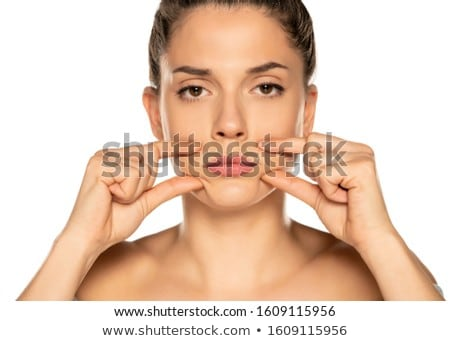 young woman touching her lips Stock photo © lubavnel