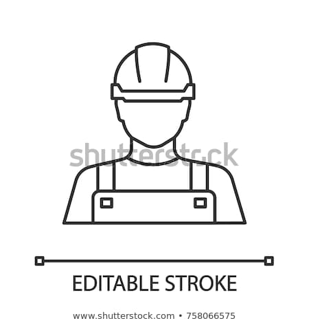 ワーカー · 注意 · にログイン · 行 · アイコン · ヘルメット - ストックフォト © rastudio