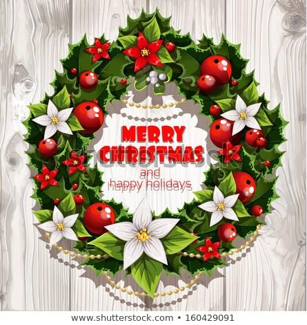 Christmas krans witte houten wenskaart poster Stockfoto © TarikVision
