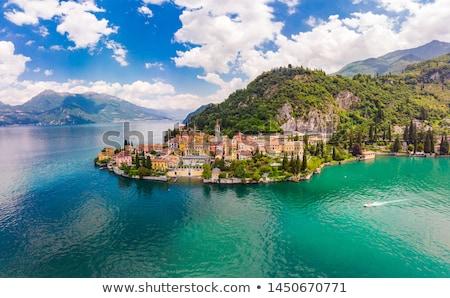 göl · İtalya · gökyüzü · su · binalar · tekne - stok fotoğraf © karandaev