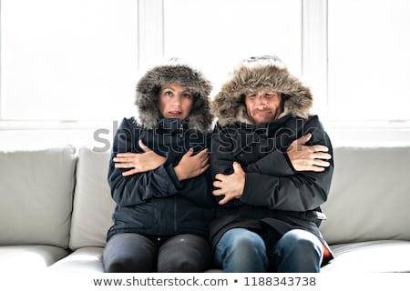 couple · froid · canapé · maison · hiver · manteau - photo stock © Lopolo