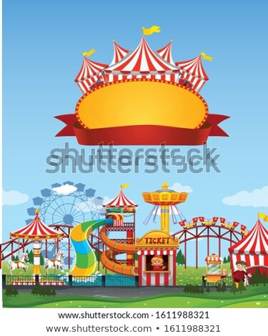 Background scene of funpark with sign template Stock photo © bluering