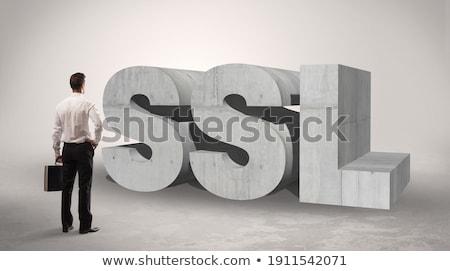 Achteraanzicht zakenman permanente afkorting ui aandacht Stockfoto © ra2studio